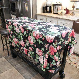 Vintage Pink Roses On Black Rectangular Tablecloth